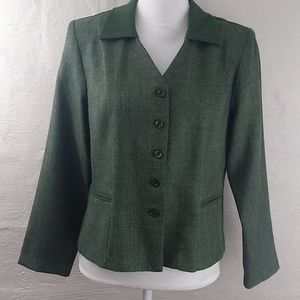 Dorby Petite Green Polyester Button Front Blazer